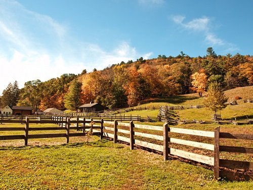 farm fences in autumn